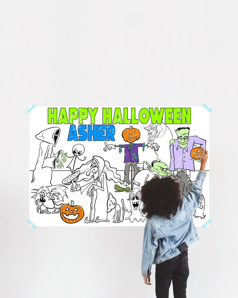 Halloween Coloring Poster for Kids with Name, Large Coloring Banner for Wall, Name Kids Halloween Activity Game Craft for Children