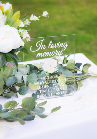 Clear Wedding Remembrance Sign - Wedding Decor Gifts