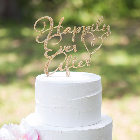 Gold Best Day Ever With Laurel Cake Topper