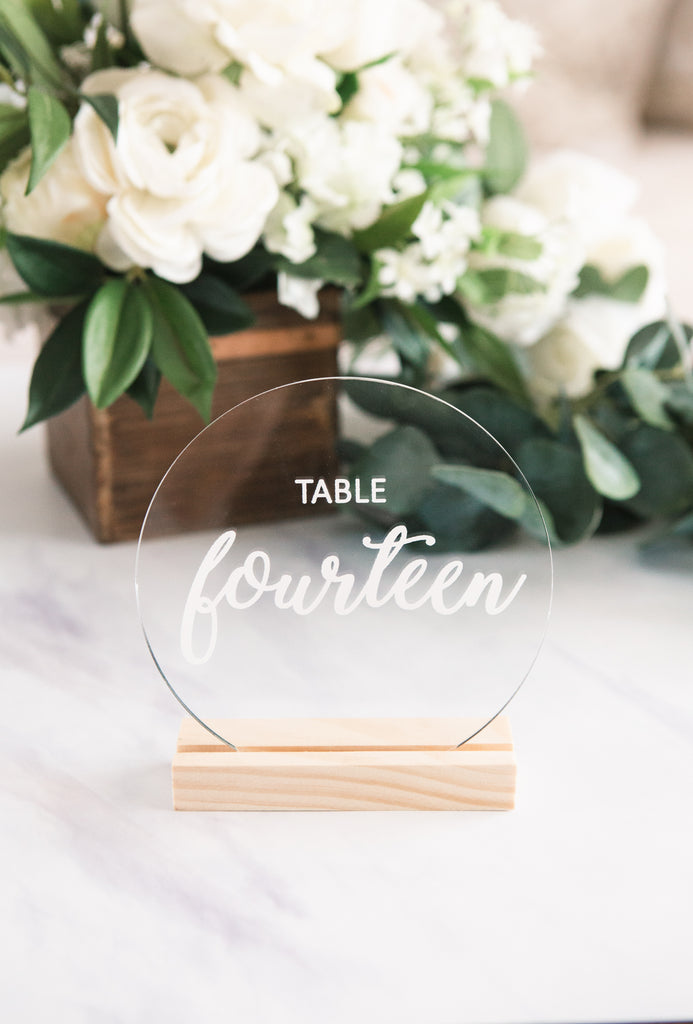 Clear Circle Acrylic Table Numbers - Wedding Decor Gifts