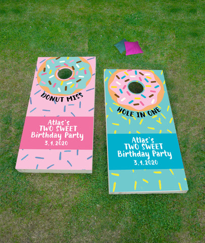 Donut Birthday Cornhole Board Decals - Wedding Decor Gifts