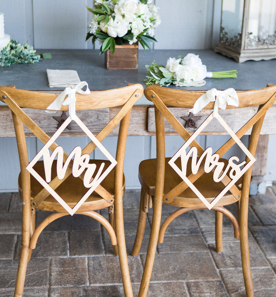 Wedding Chair Signs Diamond Style - Wedding Decor Gifts