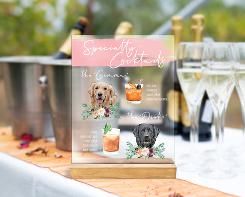 Dog Drink Sign with Custom Dogs, Wedding Sign YOUR Custom Dog Pet Pictures, Bar Sign