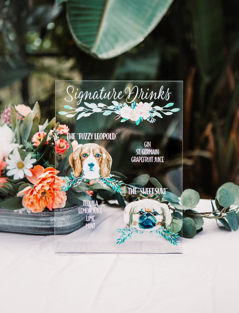 Custom Dog Drinks Sign Clear or Wood - Wedding Decor Gifts