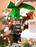 Christmas Ornament Chihuahua Dog Personalized Name and Date Wood or Clear Acrylic Holiday Decorations Tree Ornament