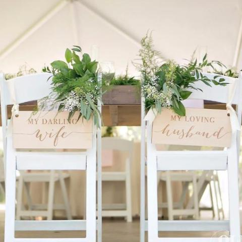 Darling Wife, Loving Husband Chair Signs - Wedding Decor Gifts