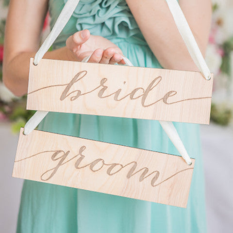 Bride Groom Chair Sign - Wedding Decor Gifts