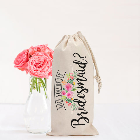 """Will You Be My Bridesmaid?"" Wine Bag Favor"