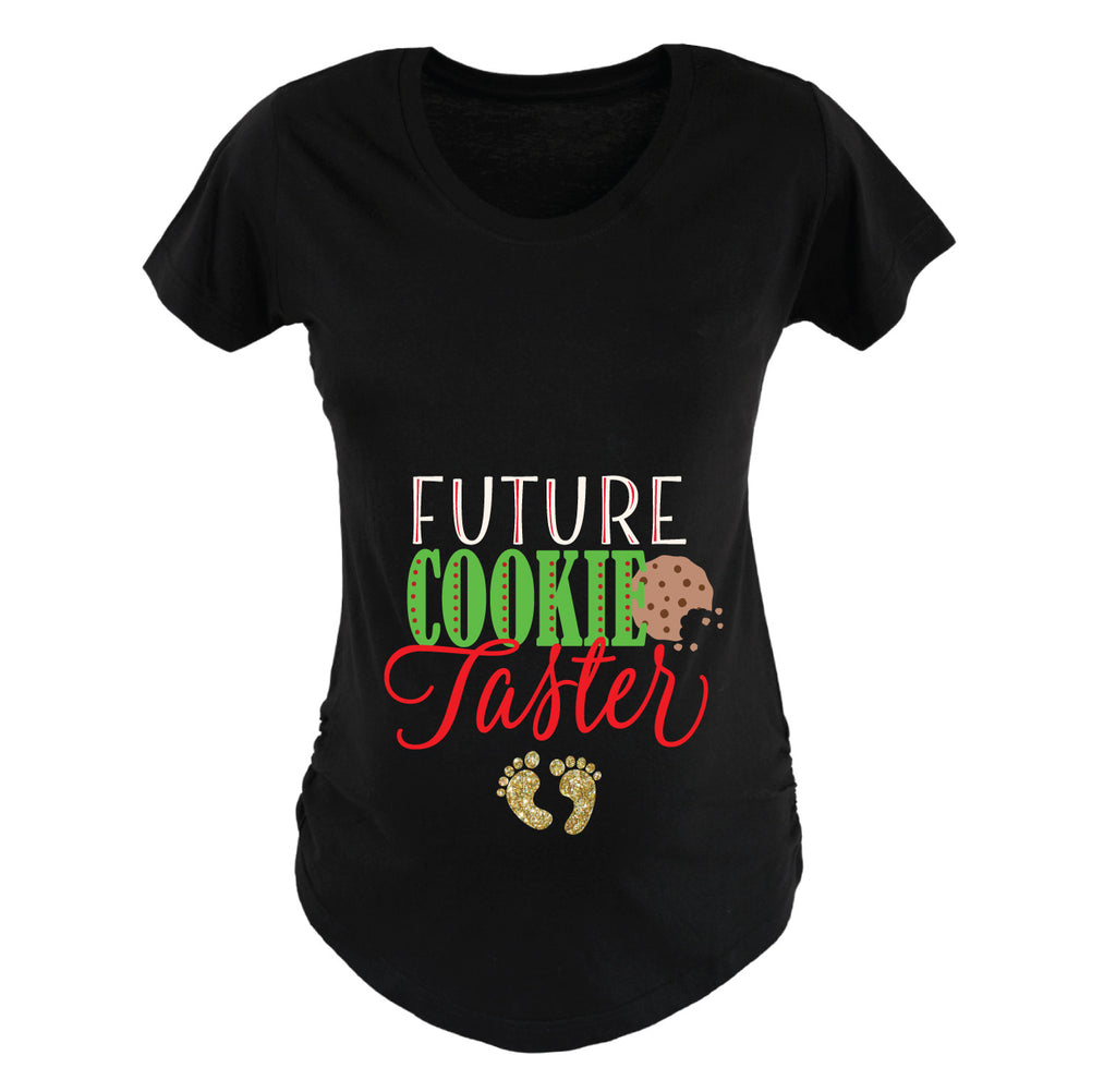Christmas Maternity Shirt Future Cooke Taster for Women Mom Pregnancy Outfit Holiday Shirt