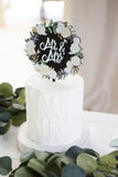 Floral Black & White Cake Topper - Wedding Decor Gifts