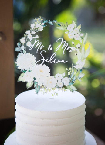 Floral Wreath Mr & Mrs Wedding Cake Topper