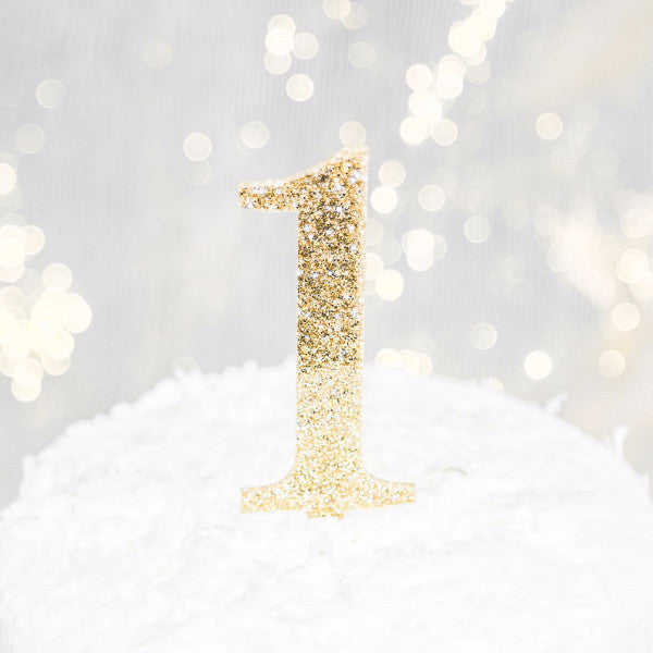 "First Birthday ""1"" Glitter Cake Topper - Wedding Decor Gifts"