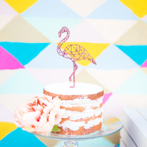 Single Flamingo Cake Topper Geometric - Wedding Decor Gifts