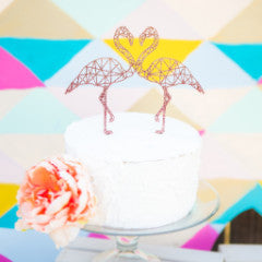 Double Flamingo Cake Topper Geometric - Wedding Decor Gifts