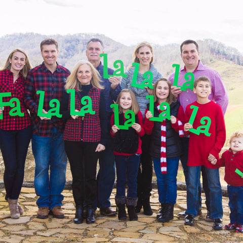 "Christmas Sign Family Photo Props ""Fa La La La"" 10 Piece - Wedding Decor Gifts"