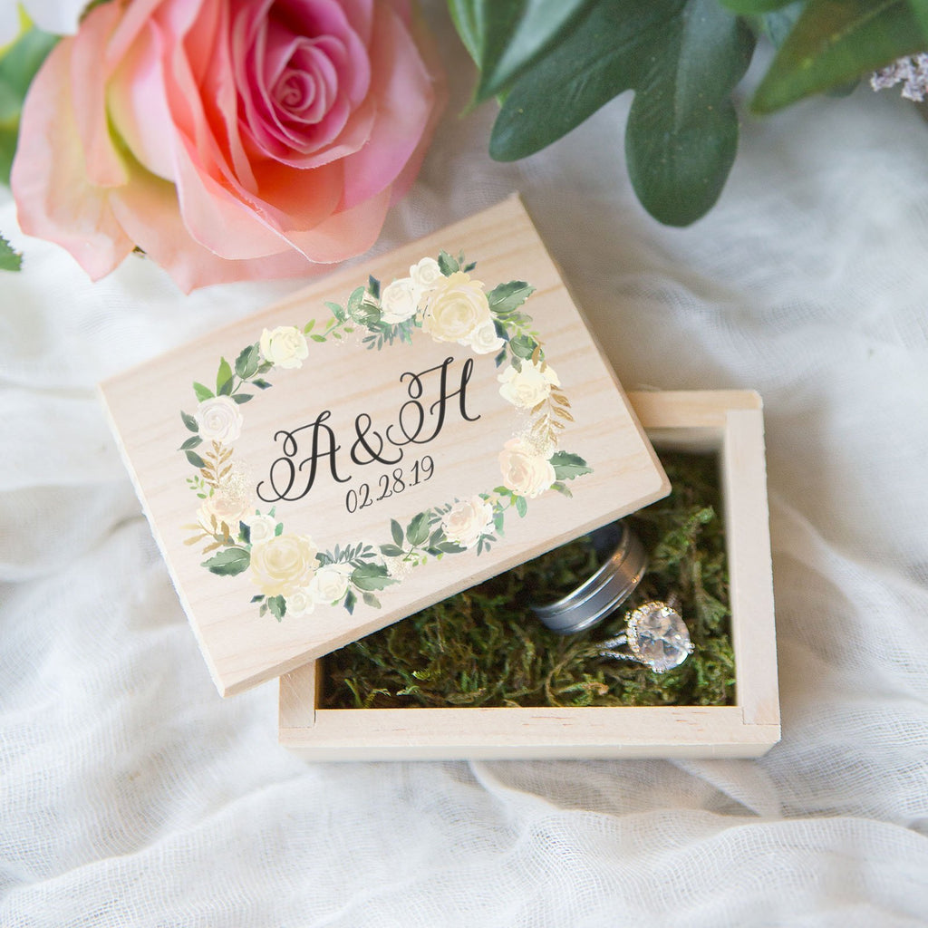 Personalized Floral Wedding Ring Box - Wedding Decor Gifts