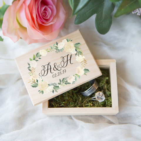 Personalized Floral Wedding Ring Box