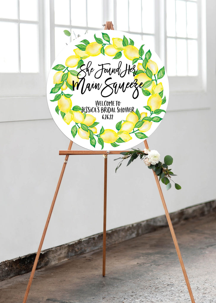 Bridal Shower Welcome Sign Lemon Theme Main Squeeze