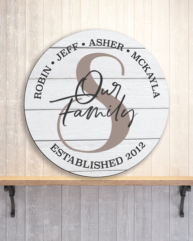 Wooden Circle, Wall Decor Established Sign Personalized