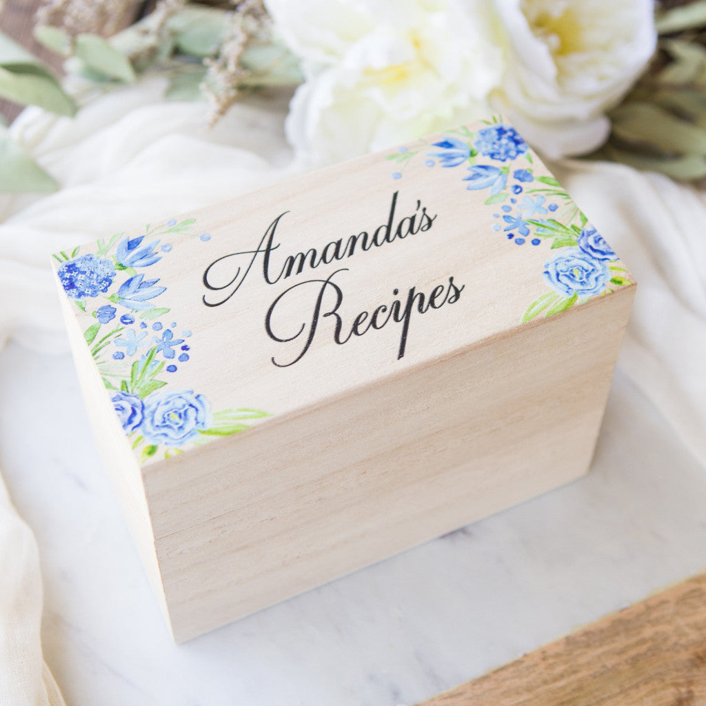 Personalized Wooden Recipe Box - Wedding Decor Gifts