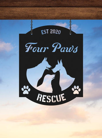 Rescue Dog Metal Sign for Outdoor Metal Sign Dog Rescue Animal Sanctuary, Large Metal Sign