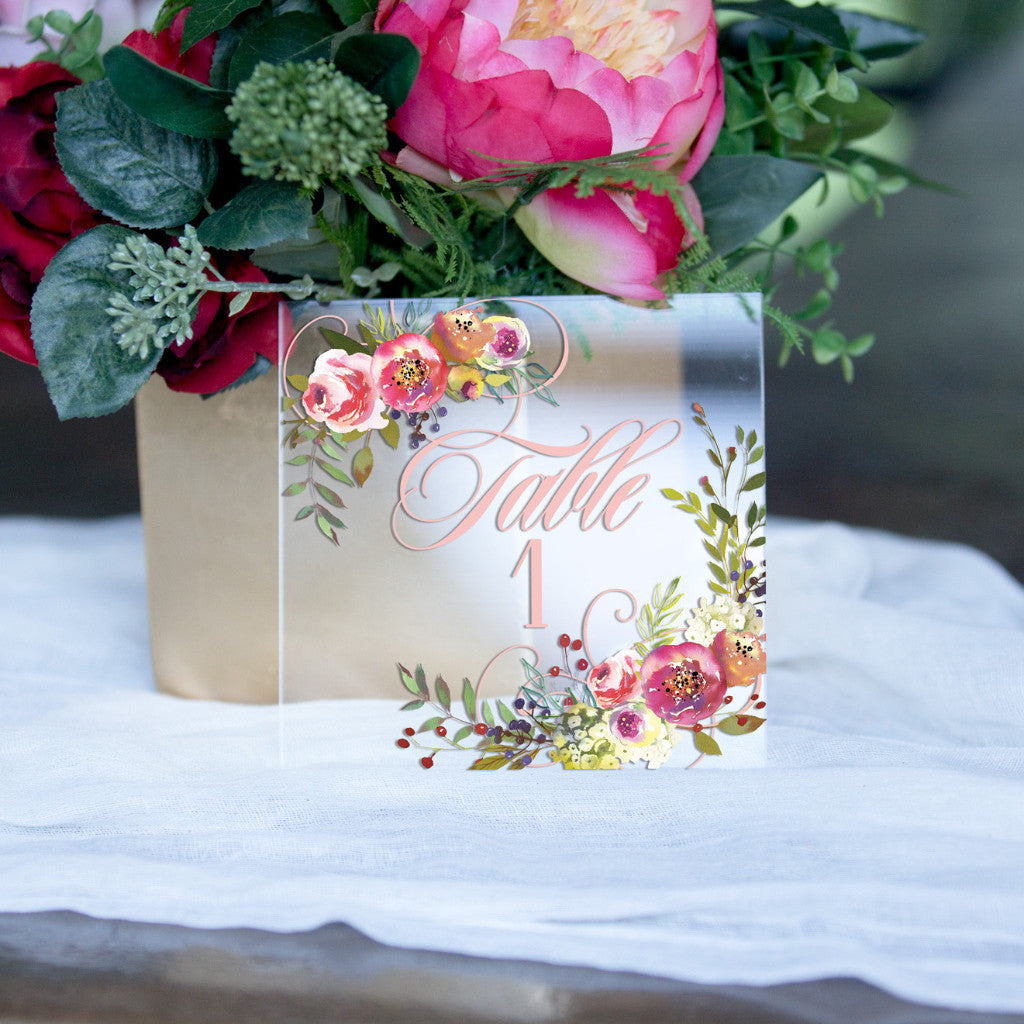 Clear Floral Table Numbers - Wedding Decor Gifts