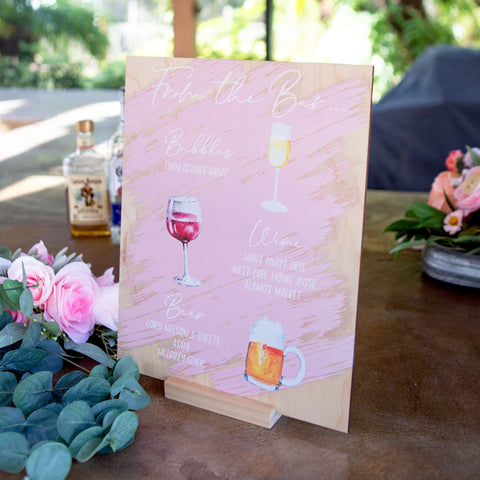 Painted Calligraphy Wedding Bar Sign
