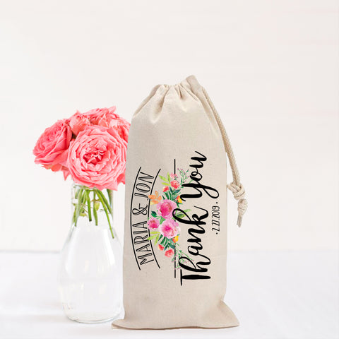 "Personalized ""Thank You"" Wine Bag Wedding Favor"