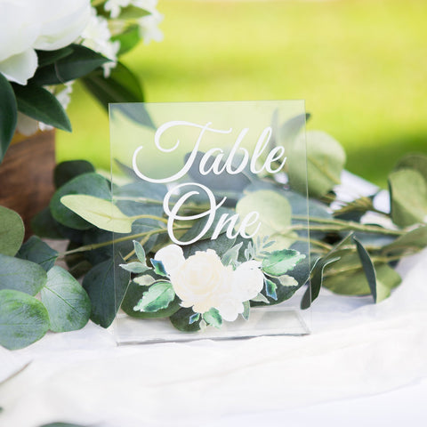 White Floral Wedding Table Numbers