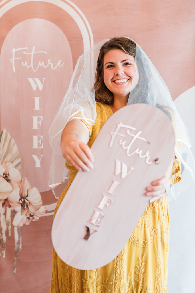 Bridal Shower Photo Prop Sign, Future Wifey Bohemian Modern Style Terracotta Colors Boho Bridal Shower Decor Sign Wedding