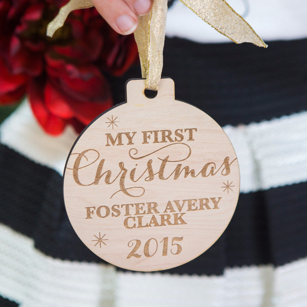 Personalized Baby's First Christmas Ornament - Wedding Decor Gifts