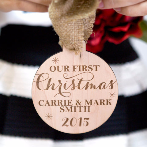 Personalized Couple's First Christmas Ornament - Wedding Decor Gifts