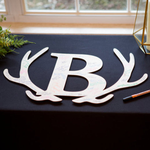 Wedding Guestbook Wooden Letter in Antlers - Wedding Decor Gifts