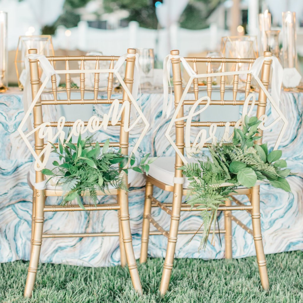 Geometric Bride Groom Wedding Chair Signs - Wedding Decor Gifts