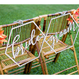 Geometric Bride & Groom Wedding Chair Signs - Wedding Decor Gifts
