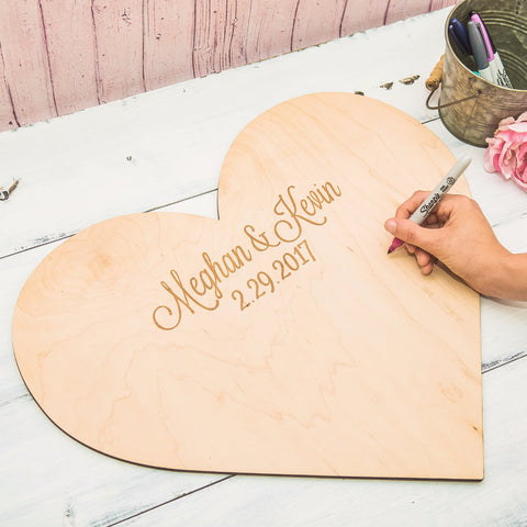 Personalized Wooden Heart Guestbook - Wedding Decor Gifts