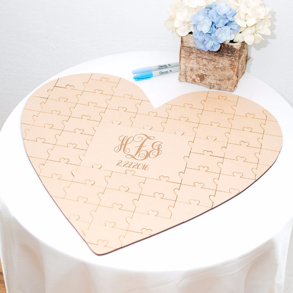 Personalized Wedding Guestbook Puzzle - Wedding Decor Gifts