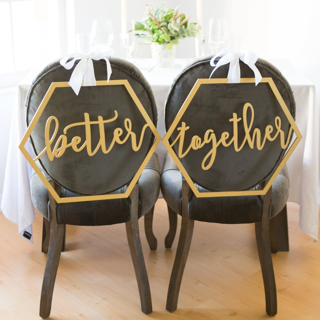 Geometric Better Together Wedding Chair Signs - Wedding Decor Gifts