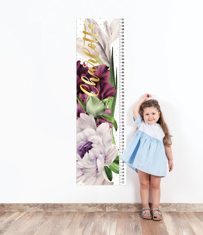 Growth Chart for Kids' Bedroom Decor, Measuring Sticker, Height Chart Wall Decal Personalized Name Growth Chart Wall