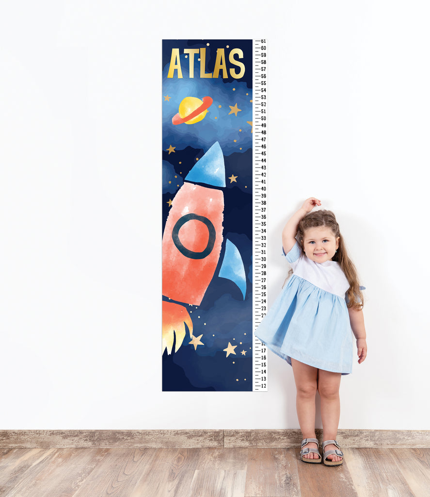 Growth Chart for Boys' Bedroom Decor, Measuring Ruler Sticker, Height Chart Wall Decal Personalized Space Rocket Nursery Room Decor