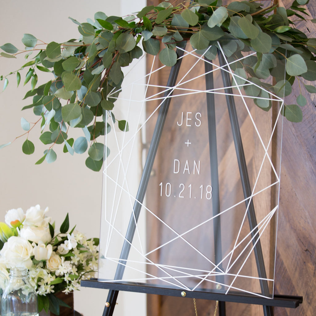 Wedding Welcome Sign.Geometric Lines Wedding Welcome Sign
