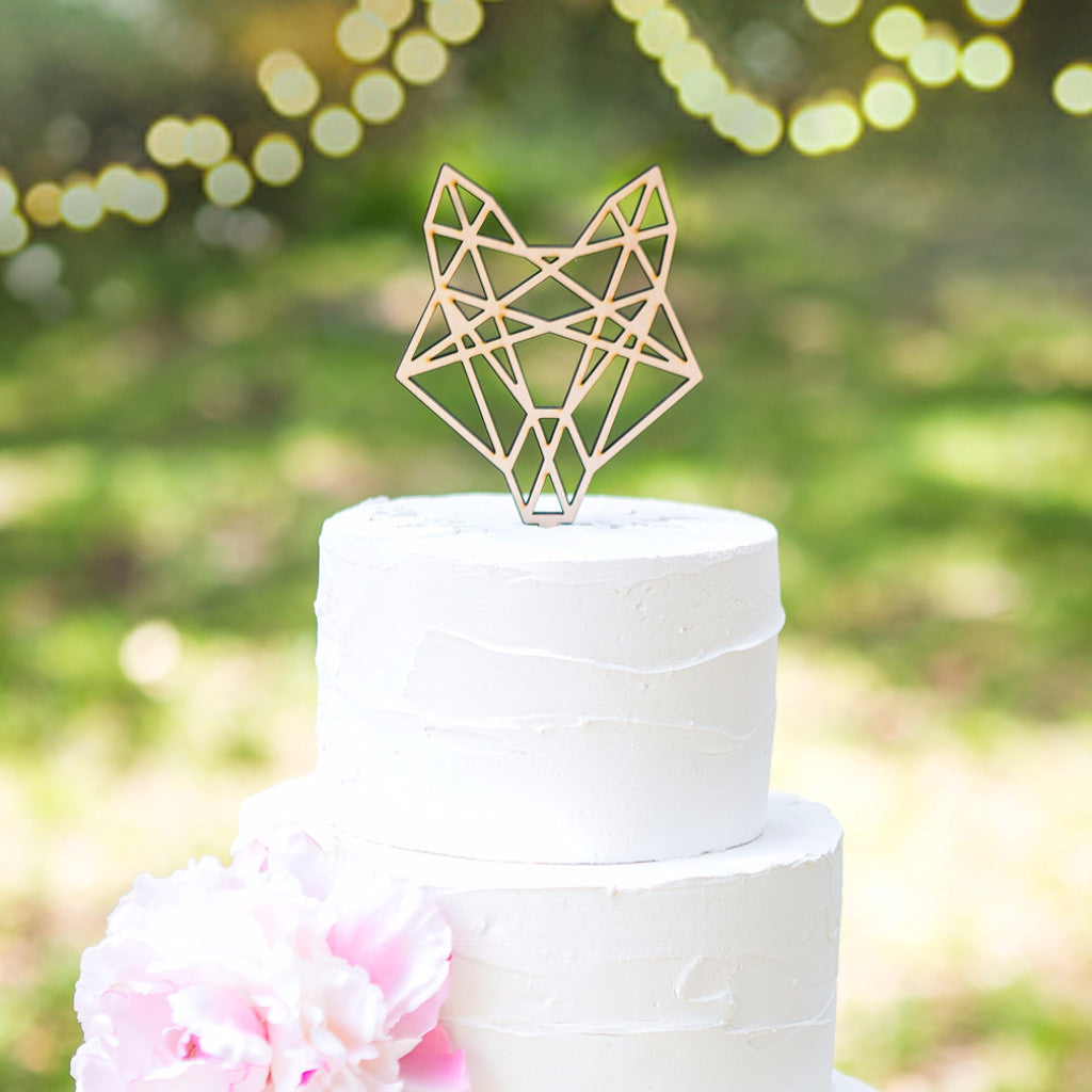 Boho Cake Topper Geometric Fox Head - Wedding Decor Gifts