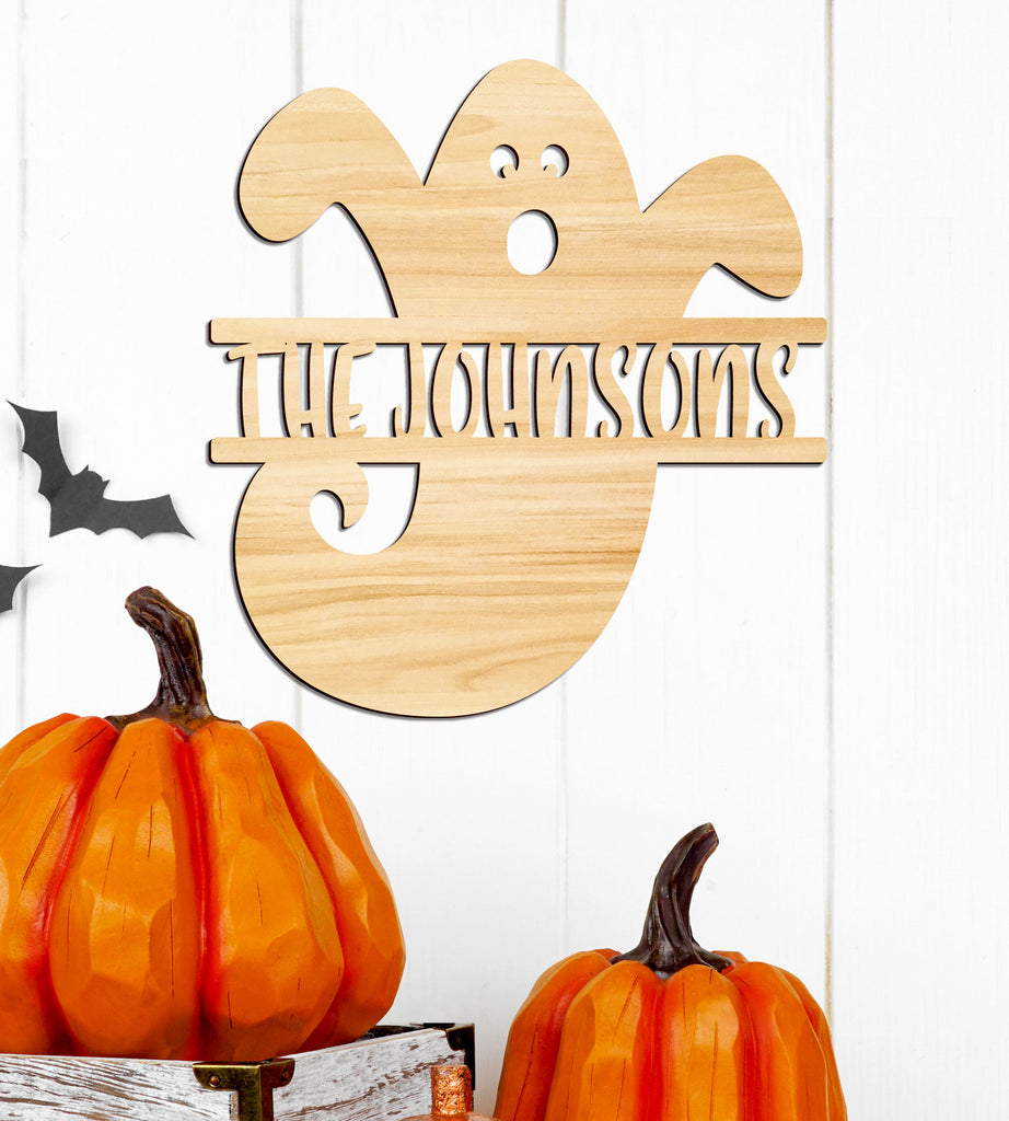 Fall Sign, Ghost Name Sign Wall Decor Personalized Name, Fall or Halloween Decor, Personalized Wooden Name Sign Wall or Door
