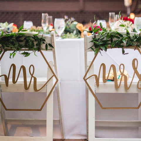 Geometric Mr & Mrs Wedding Chair Signs - Wedding Decor Gifts