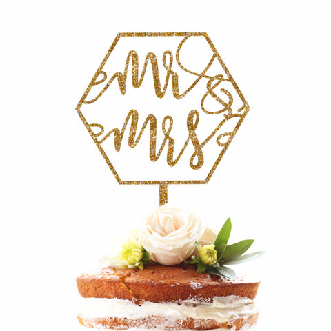 Geometric Mr & Mrs Cake Topper - Wedding Decor Gifts