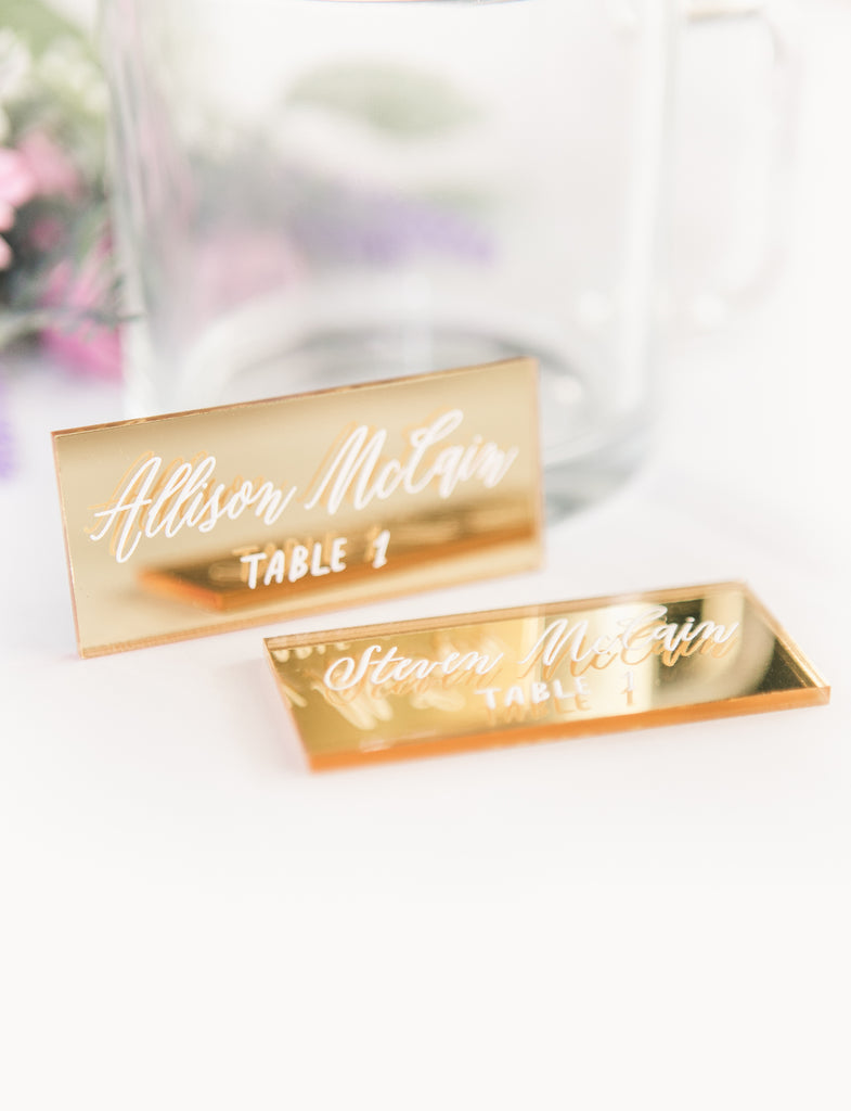 Place Card Names Gold Mirror - Wedding Decor Gifts