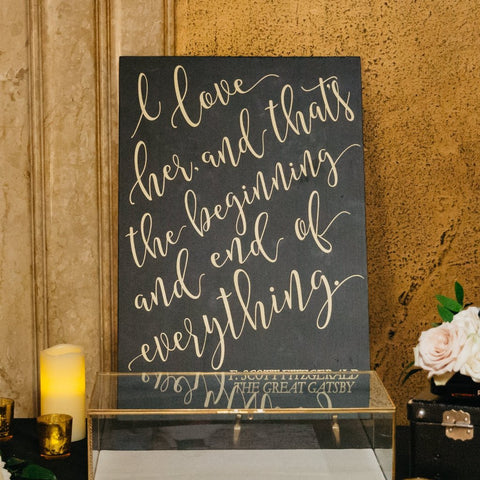 Gatsby Quote Painted Wooden Sign - Wedding Decor Gifts
