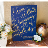 Fitzgerald Quote Painted Wooden Sign - Wedding Decor Gifts