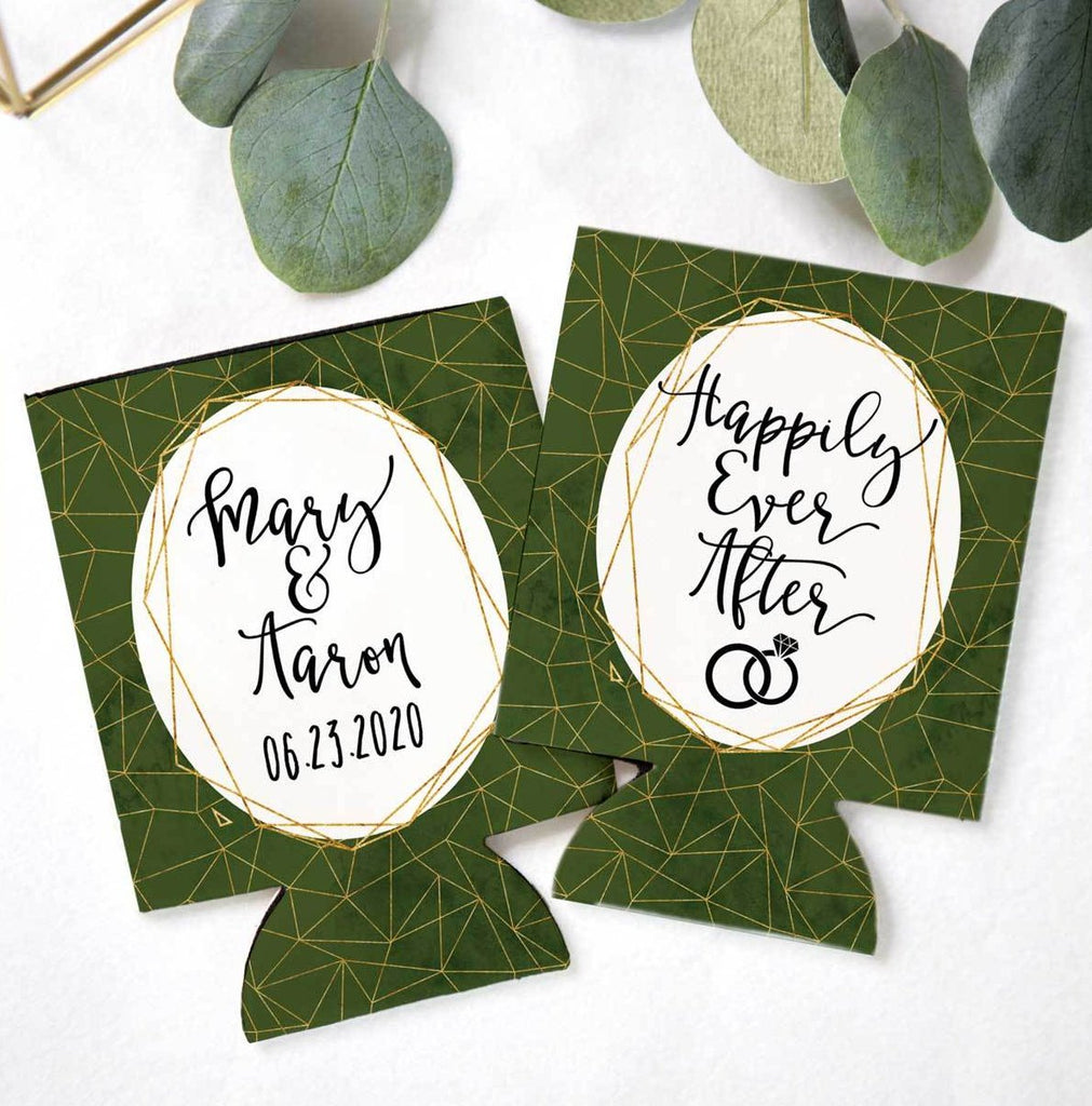 Green Geometric Wedding Favor Drink Holders – Z Create Design
