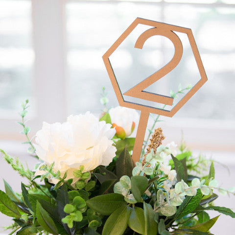 Geometric Table Numbers on Sticks - Wedding Decor Gifts